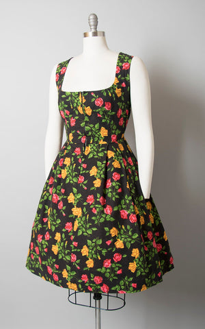 Vintage 1960s Dress | 60s Rose Floral Print Cotton Dirndl Traditional Oktoberfest Sundress (medium/large)
