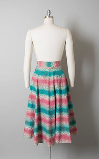 Vintage 1940s 1950s Skirt | 40s 50s Ombré Striped Cotton Pink Teal Metallic Gold Printed Full Swing Skirt (small)