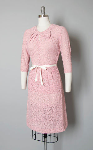 Vintage 1940s Dress | 40s Pink Sheer Floral Rayon Net Wiggle Dress (medium)
