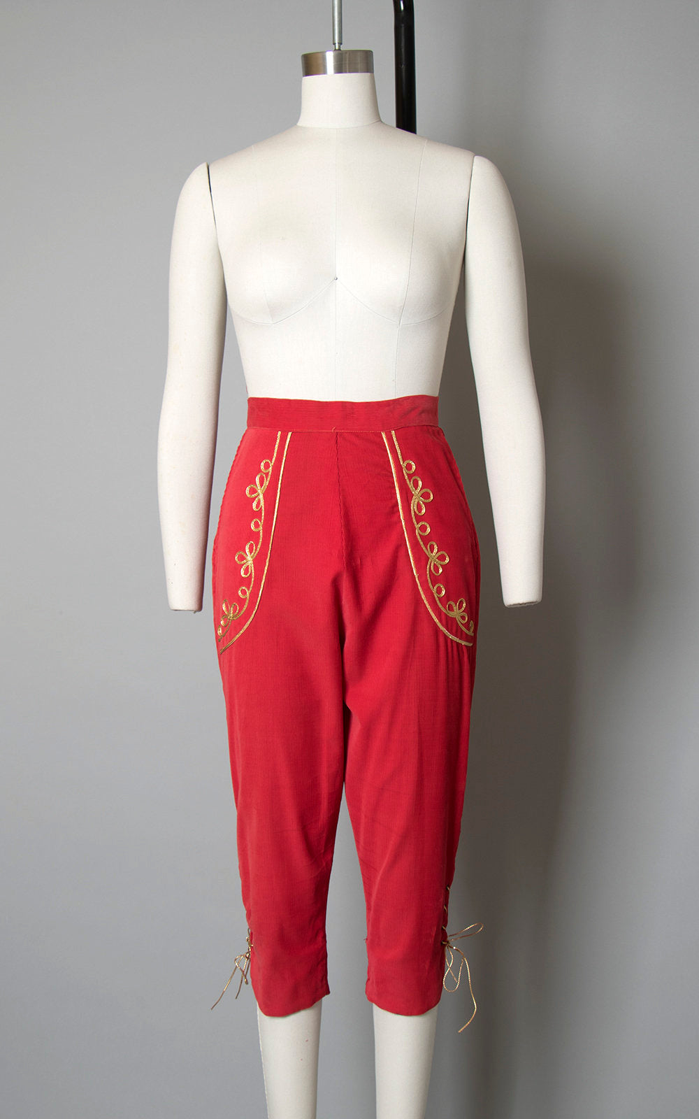 Vintage 1950s Capris | 50s Red Corduroy Gold Lace Up Pedal Pushers Matador High Waisted Pants (x-small/small)