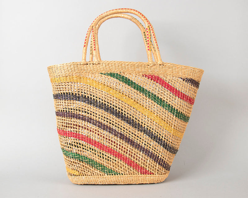 Vintage 1950s Purse | 50s Striped Woven Straw Wicker Big Beach Bag