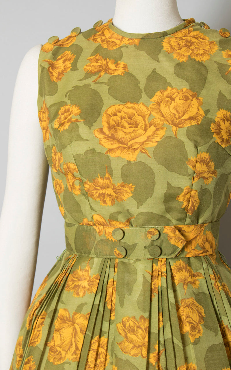 Vintage 1960s Dress | 60s Rose Floral Print Sundress Cotton Yellow Green Pleated Full Skirt Matching Belt Day Dress (small)