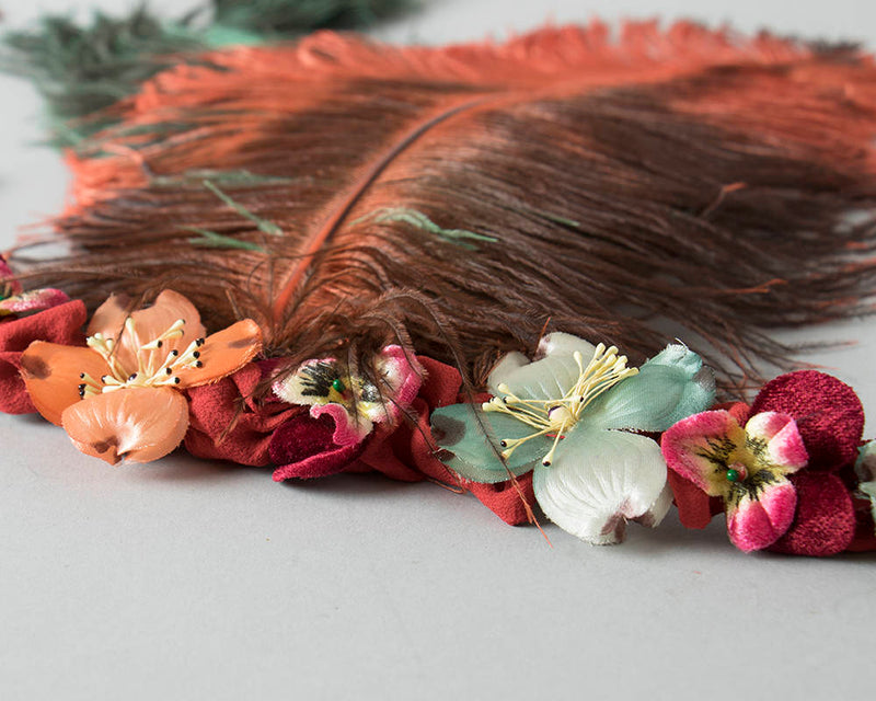 Handmade 1920s Style Headdress | 20s Inspired Ostrich Feather Floral Headband Vintage Millinery Flowers Headpiece