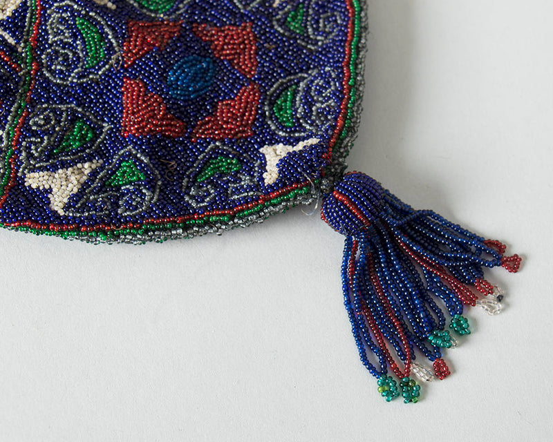 Antique Victorian Handbag | 1900s 1910s 1920s Micro Beaded Reticule Glass Beads Blue Fringe Drawstring Art Deco Flapper Purse