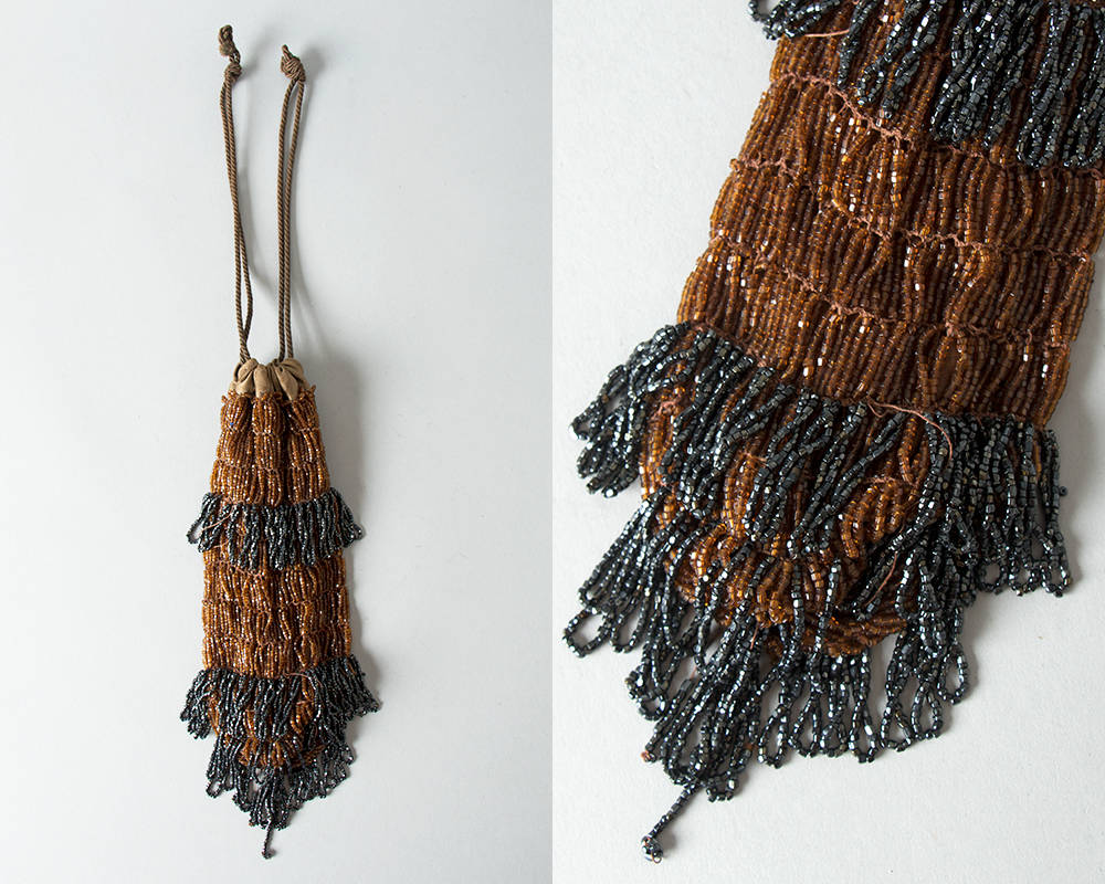 Vintage 1920s Handbag | 20s Micro Beaded Reticule Glass Beaded Fringe Drawstring Flapper Purse