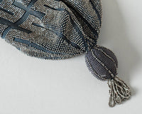 Antique Victorian Handbag | 1900s 1910s 1920s Micro Beaded Reticule French Cut Steel Silver Crochet Fringe Drawstring Pouch Flapper Purse