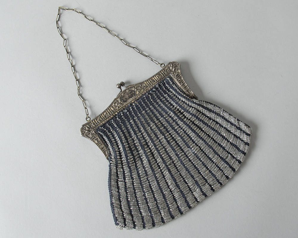 Vintage 1920s Handbag | 20s Micro Beaded Silver Frame Glass Beads Crochet Art Deco Flapper Purse