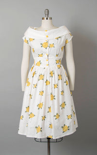 Vintage 1950s Style Dress | 50s Floral Cotton Sundress White Yellow Shirtwaist Day Dress (small/medium)