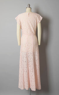 Vintage 1930s Gown | 30s Sheer Cotton Lace Light Pink Full Length Wedding Bridesmaid Tea Dress (small)