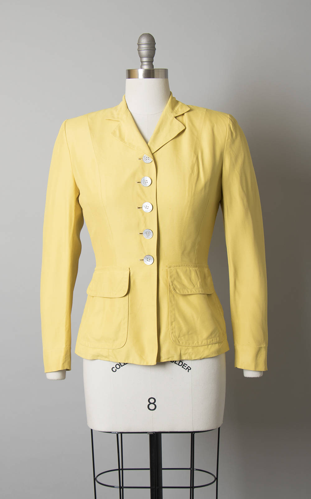 Vintage 1940s Blazer | 40s Yellow Lightweight Tailored Jacket with Mother of Pearl Shell Buttons (small)