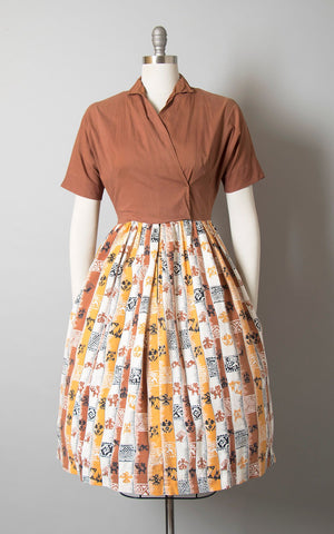 Vintage 1950s Dress | 50s Thunderbird Novelty Print Cotton Native American Southwestern Brown Full Skirt Shirtwaist Day Dress (small/medium)