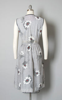 Vintage 1950s Dress | 50s Floral Printed Cotton Sundress Windowpane Plaid White Black Full Skirt Day Dress with Pockets (medium)