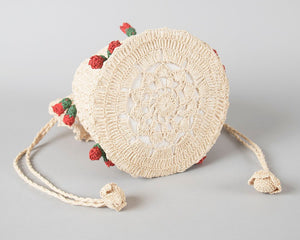 Vintage 1940s Purse | 40s Strawberry Floral Novelty Crochet Straw Drawstring Handbag