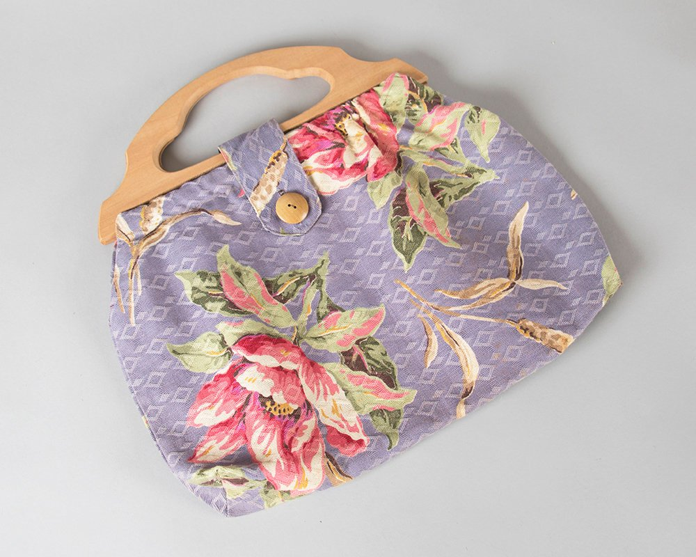 Vintage 1940s Purse | 40s Floral Cotton Wood Handle Handbag Purple Pink Topical Hawaiian Tiki Knitting Bag
