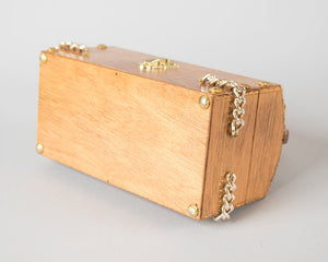 Vintage 1960s Box Purse | 60s Metal Studded Wood Handbag Treasure Chest Purse