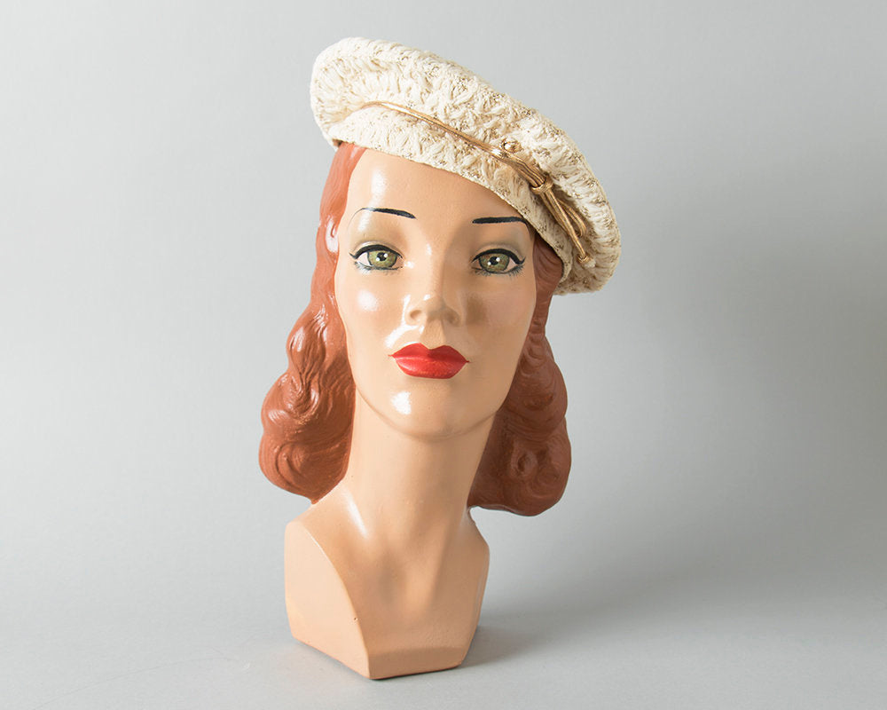 Vintage 1950s Beret | 50s NEW YORK CREATION Raffia Metallic Gold Cream Tam Hat with Bow (small/medium)