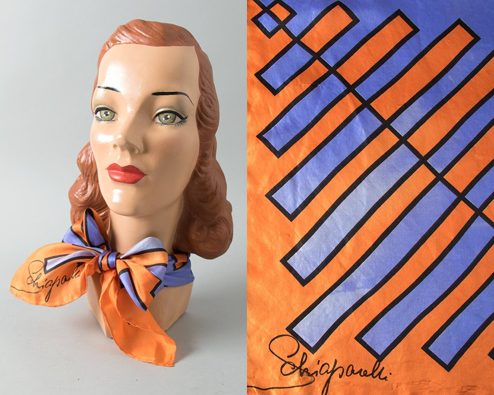 Vintage 1960s Scarf | 60s SCHIAPARELLI Silk Geometric Printed Orange Purple Large Square Op Art Scarf Designer Signed