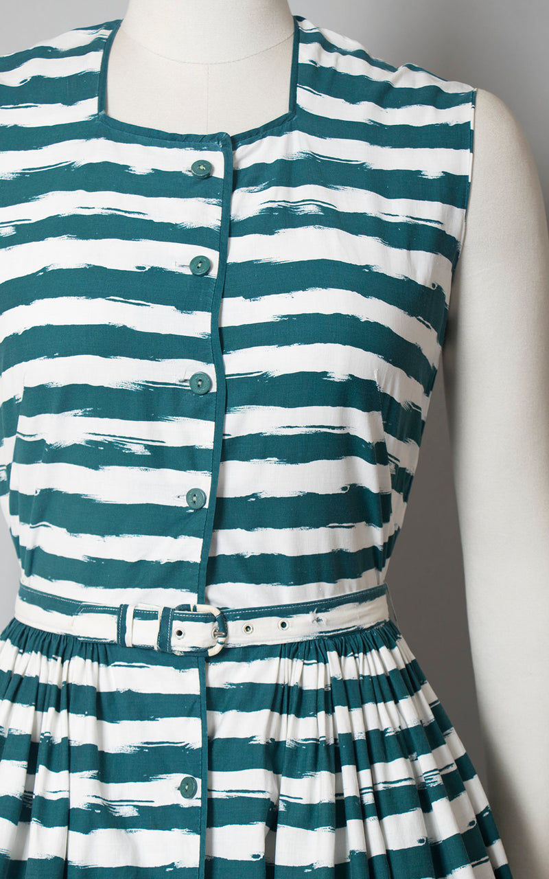 Vintage 1950s Dress | 50s HORROCKSES Striped Cotton Sundress Teal White Full Skirt Shirtwaist Day Dress (small)