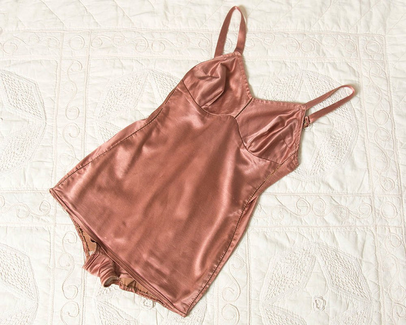 Vintage 1940s Swimsuit | 40s Copper Satin One Piece Pinup Bombshell Bathing Suit (small/medium)