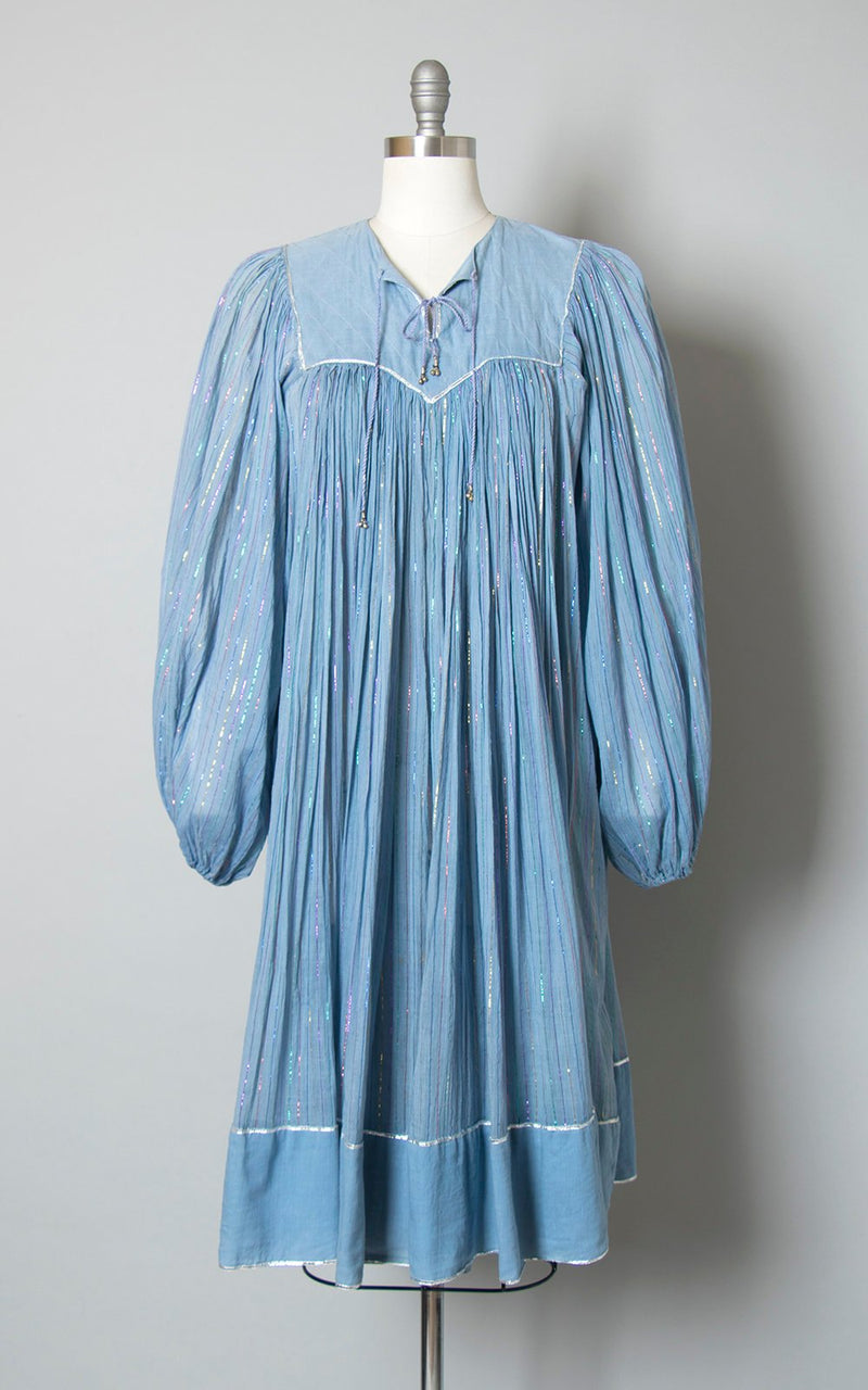 Vintage 1970s Dress | 70s KAISER India Cotton Gauze Metallic Striped Light Blue Sheer Long Sleeve Boho Dress (small/medium/large)