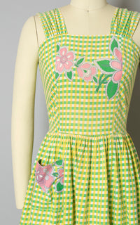 Vintage 1940s Dress | 40s Floral Border Print Gingham Cotton Sundress Green Yellow Full Skirt Day Dress with Pocket (x-small)