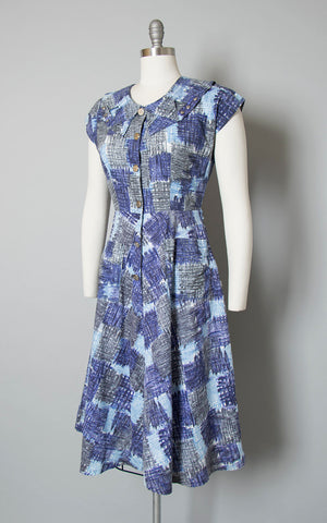 Vintage 1940s 1950s Dress | 40s 50s Blue Cotton Patchwork Printed Shirtwaist Day Dress with Pockets (small/medium)
