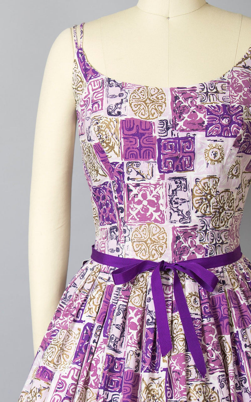Vintage 1950s Dress | 50s Hawaiian Cotton Sun Dress Tiki Print Sundress Purple Metallic Gold Spaghetti Strap Full Skirt Day Dress (small)
