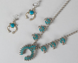 Vintage 1970s Jewelry | 70s ART Signed Squash Blossom Faux Turquoise Silver Stone Beaded Boho Necklace Screwback Earrings Set
