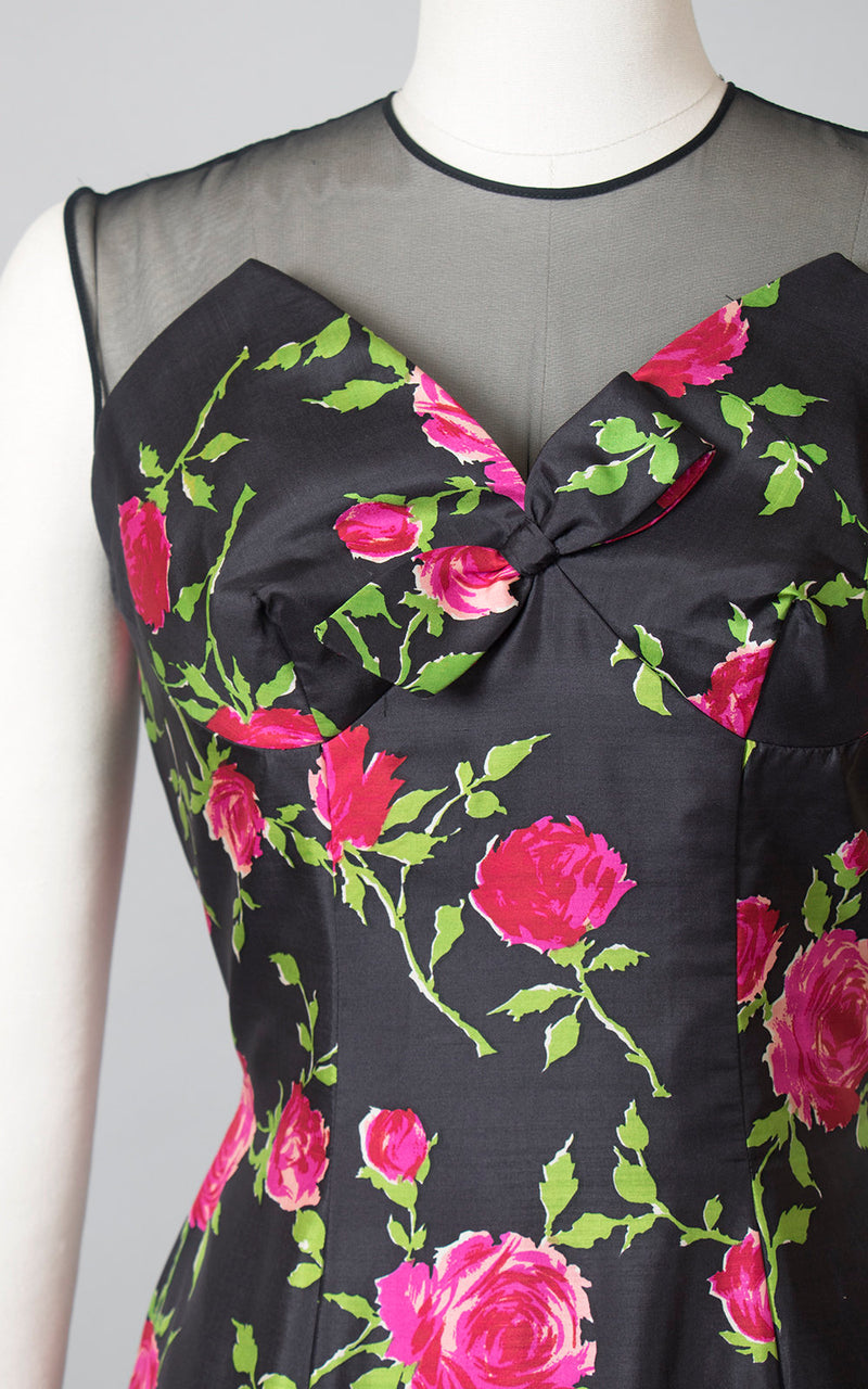Vintage 1950s Dress | 50s Silk Rose Floral Print Sheer Mesh Cocktail Dress Black Pink Red Wiggle Party Dress (medium)