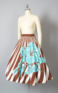 Vintage 1950s Circle Skirt | 50s Oversized Floral Striped Print Cotton Brown Blue Swing Skirt (small)