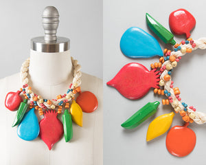 Vintage 1980s Necklace | 80s Wood Fruit Vegetables Chunky Beaded Statement Necklace