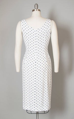Vintage 1950s Dress | 50s Polka Dot Linen Sundress White Zip Front Bombshell Wiggle Day Dress (medium)