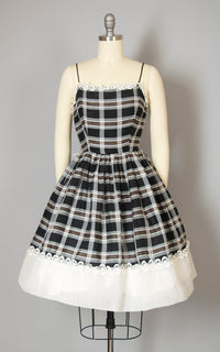 Vintage 1950s Dress | 50s Plaid Sundress Black White Spaghetti Strap Sun Dress Full Skirt Day Dress (x-small)