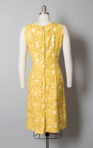 Vintage 1950s 1960s Dress | 50s 60s Egyptian Novelty Print Cotton Sheath Sundress Yellow Wiggle Day Dress (medium)