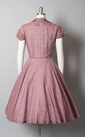 Vintage 1950s Dress | 50s Plaid Cotton Shirtwaist Pink Green Tartan Rhinestone Buttons Circle Skirt Day Dress (small)