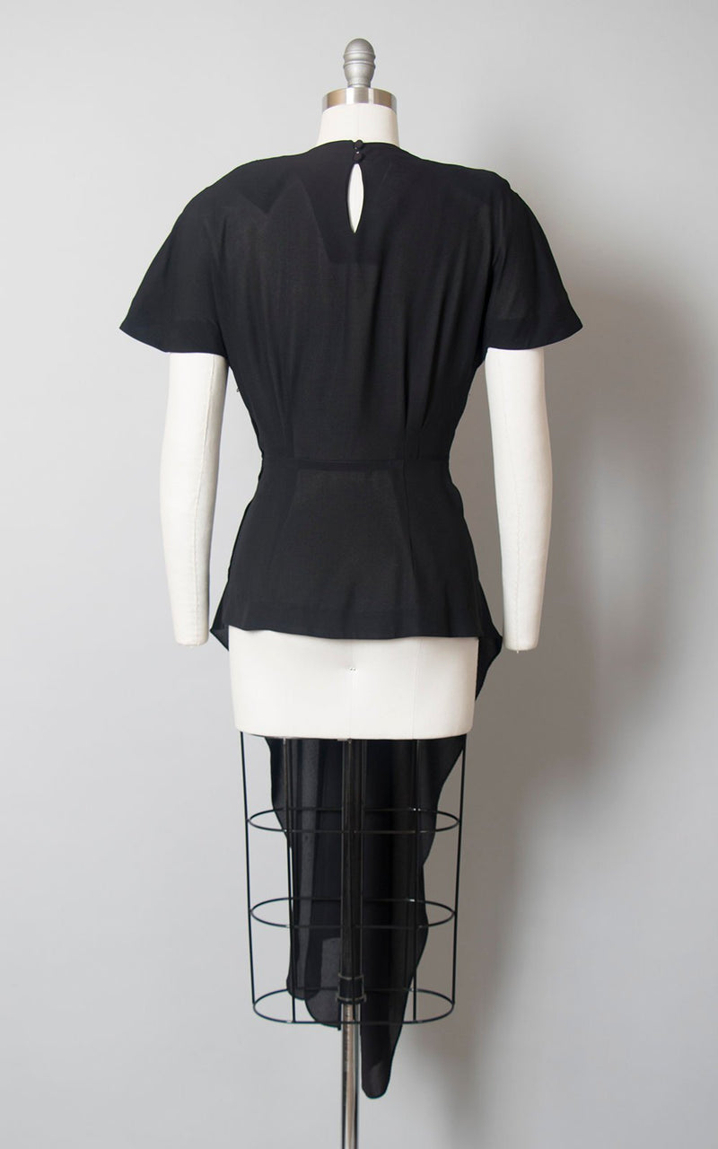 Vintage 1940s Blouse | 40s Black Rayon Nude Illusion Asymmetrical Peplum Evening Cocktail Top (medium)