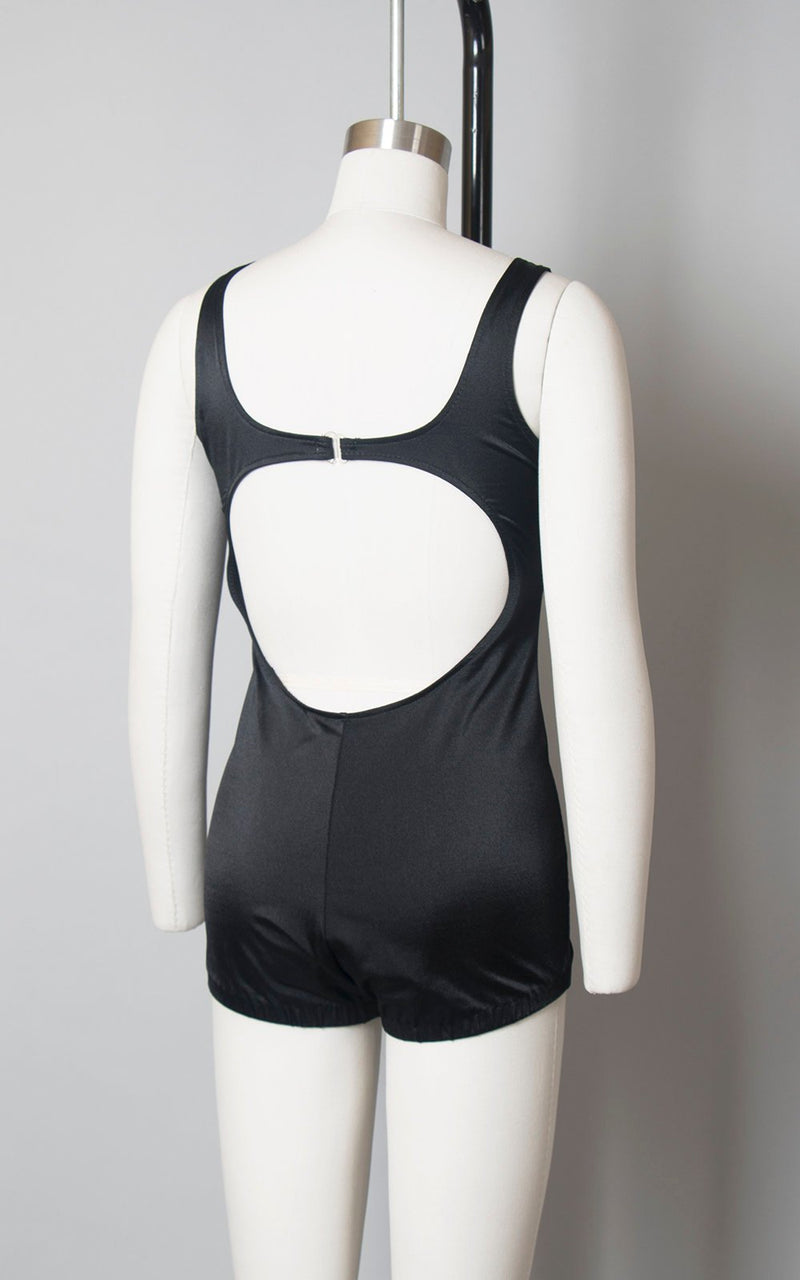 Vintage 1970s Swimsuit | 70s Black Button Up Open Back One Piece Minimalist Bathing Suit (small/medium)