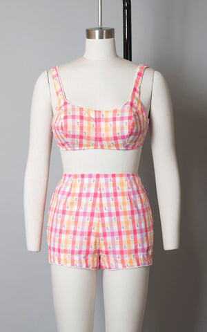 Vintage 1960s Bikini | 60s Plaid Floral Cotton Playsuit Two Piece Bra Shorts Swimsuit Pink Purple Orange Bathing Suit (medium)