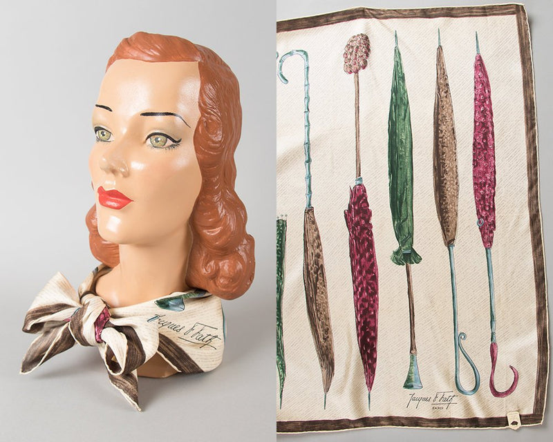Vintage 1940s 1950s Scarf | 40s 50s JACQUES FATH Soie Deadstock Silk Umbrella Novelty Print Hand Painted Large Square Scarf