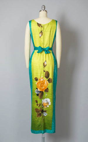 Vintage 1960s Dress | 60s Hawaiian Rose Floral Cotton Sundress Tiki Lime Green Teal Ombré Color Block Maxi Wiggle Day Dress (small)