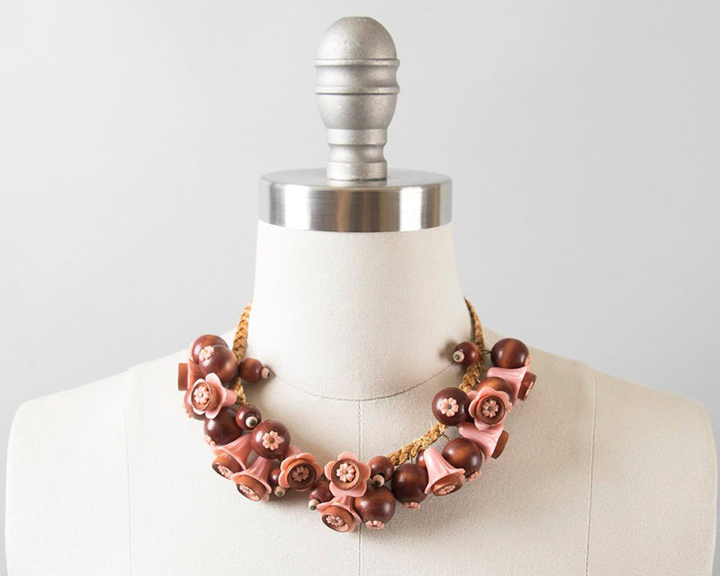 Vintage 1930s Necklace | 30s Floral Pink Plastic Wood Charms Braided Leather Beaded Statement Necklace