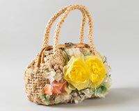 Vintage 1960s Purse | 60s Floral Woven Straw Handbag Bamboo 3D Flowers Doctors Bag