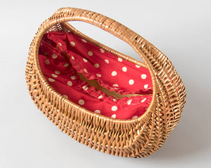 Vintage 1950s Purse | 50s Woven Wicker Picnic Basket Purse with Red Polka Dot Lining