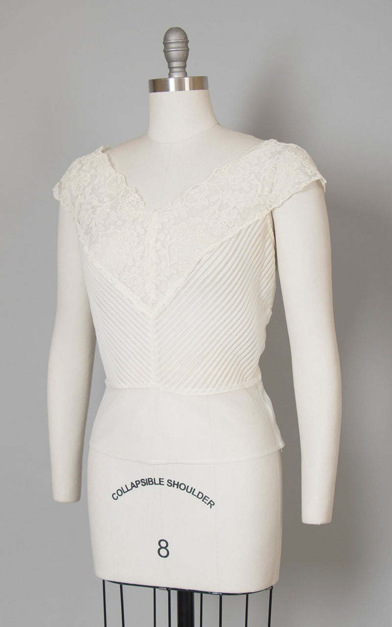 Vintage 1950s Blouse | 50s Sheer Cream Nylon Soutache Lace Chevron Pintuck Top (medium)