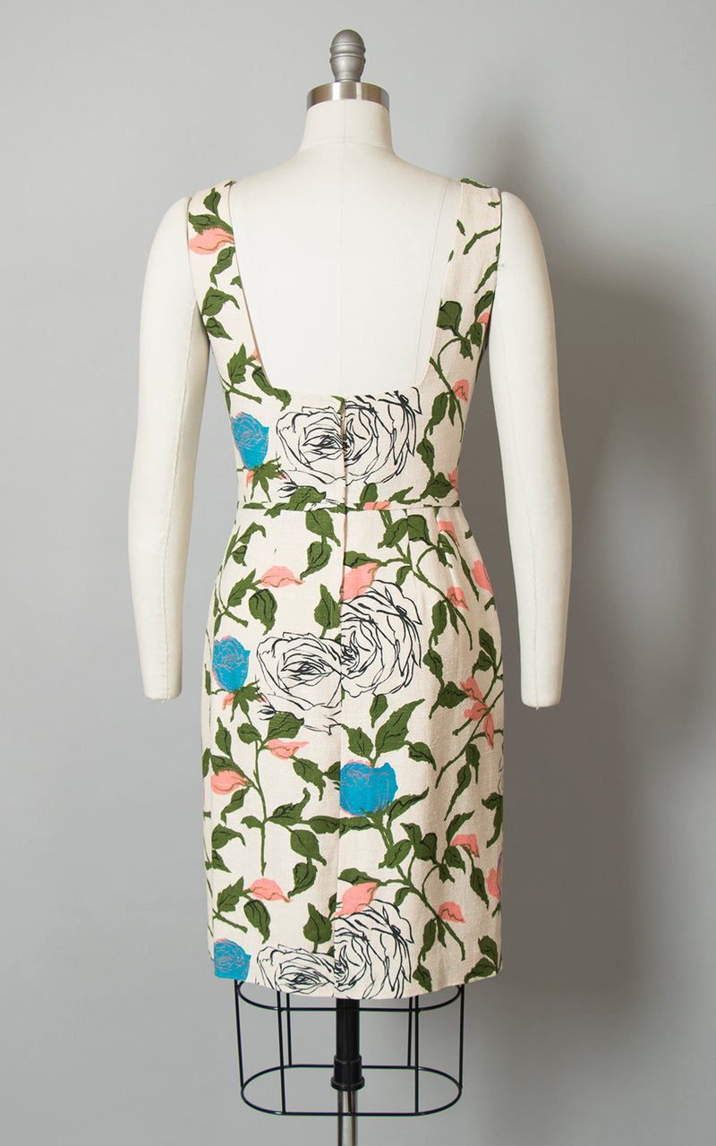 Vintage 1960s Dress | 60s Rose Floral Print Cocktail Dress Rayon Silk Cream Open Back Wiggle Sundress (medium)