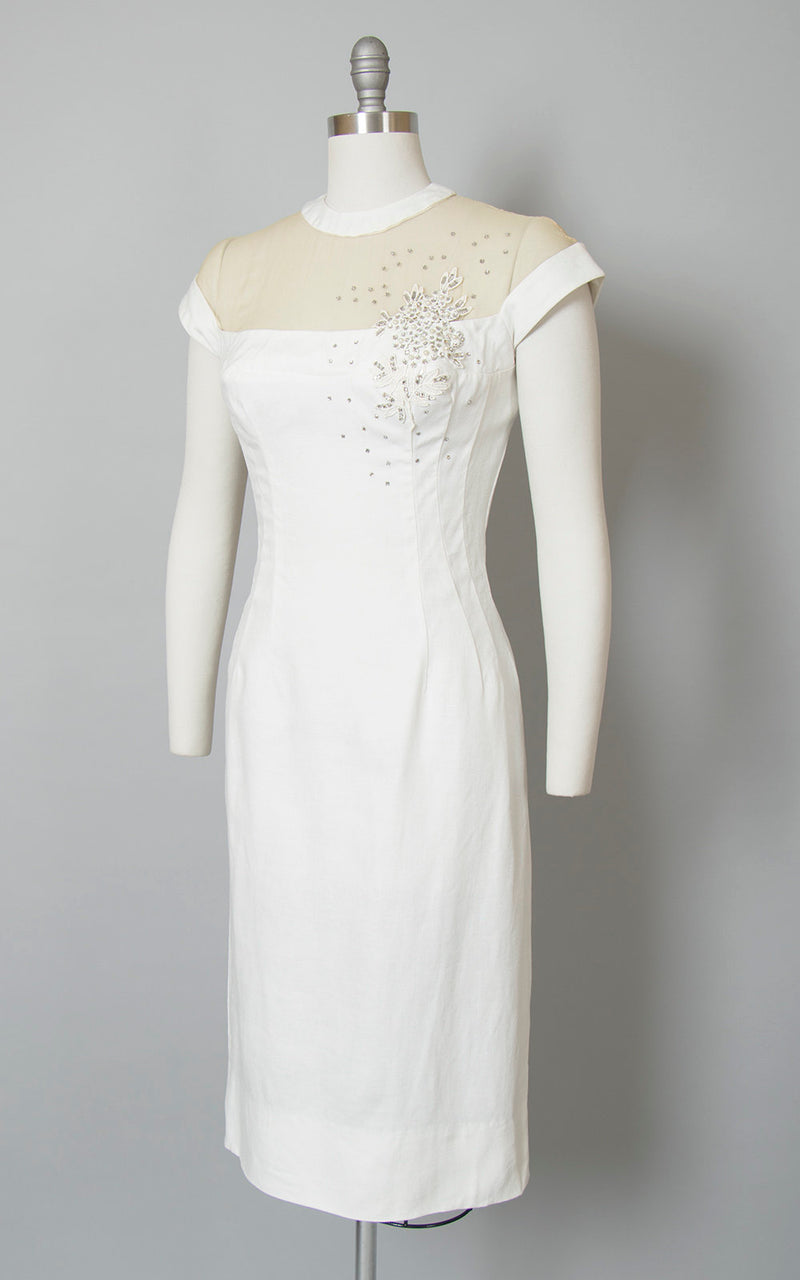 Vintage 1950s Dress | 50s White Linen Sheer Mesh Neckline Rhinestone Beaded Lace Wiggle Cocktail Party Bombshell Dress (small)