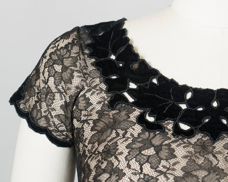 Vintage 1950s Blouse | 50s Black Lace Sheer Nude Illusion Top w/ Cutout Velvet Leaves (small)