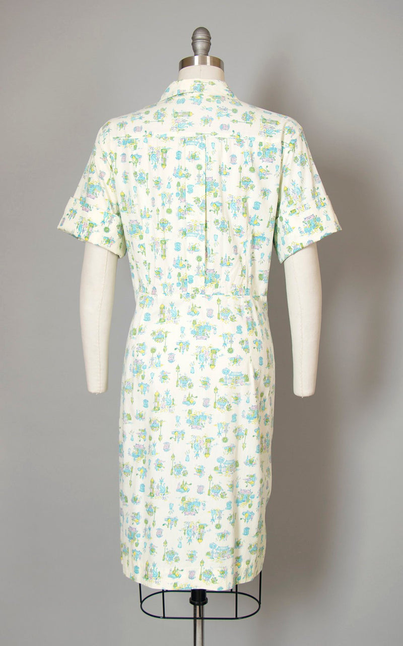 Vintage 1960s Dress | 60s Cats Floral Novelty Print Cotton Shirtwaist Cream Sheath Wiggle Day Dress (x-large)
