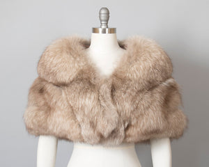Vintage 1950s Fur Wrap | 50s Fox Fur Stole Grey Brown Fox Fur Bridal Wedding Evening Shrug (small/medium)