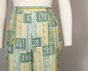 Vintage 1960s Capri Pants | 60s Novelty Print Floral Paisley Geometric Cotton Green High Waisted Pants (small)